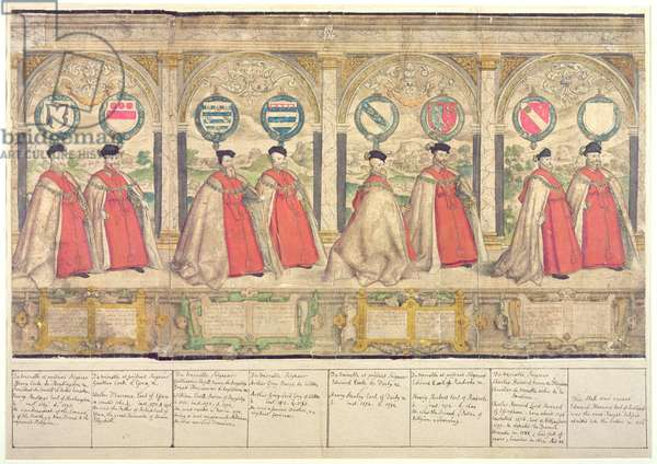 Imaginary Composite Procession of the Order of the Garter at Windsor, engraved by Marcus Gheeraerts the Elder 1576 (coloured etching)