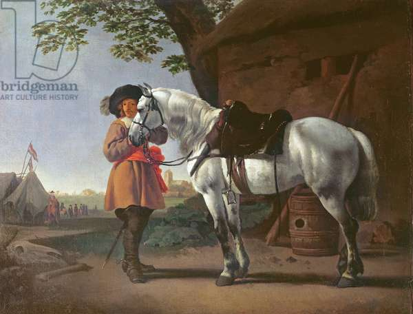A Cavalier with a Grey Horse (oil on panel)