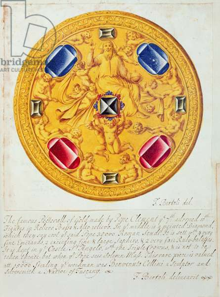Front view of a pectoral ornament of gold and jewels made for Pope Clement VII by Cellini in c.1523-34, 1729 (w/c on paper)