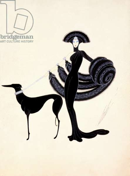 Costume design: woman dressed in black, with furs, hat and dog on a lead