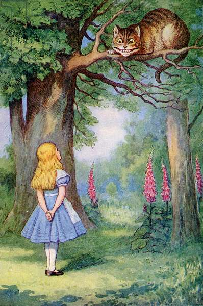 Alice and the Cheshire Cat, illustration from 'Alice in Wonderland' by Lewis Carroll (1832-98) (colour litho)