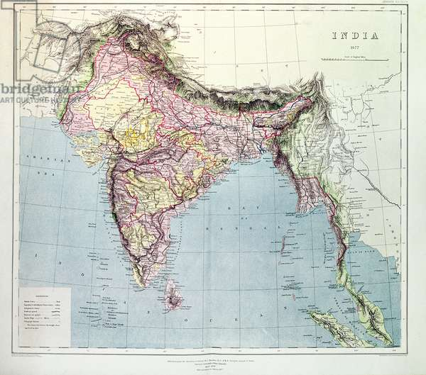 Map of India, published under the direction of Colonel H.R. Thuillier, R.E., Surveyor General of India, 1877 (colour litho)