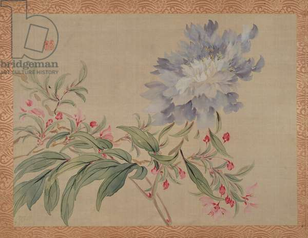 Blossom and a flower, 1851 (watercolour on silk)