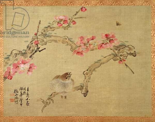 Tree blossom and bird, 1851 (watercolour on silk)