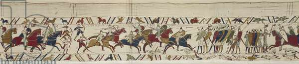 The Norman cavalry attacks the English shield-wall and battle is joined, Bayeux Tapestry (wool embroidery on linen)