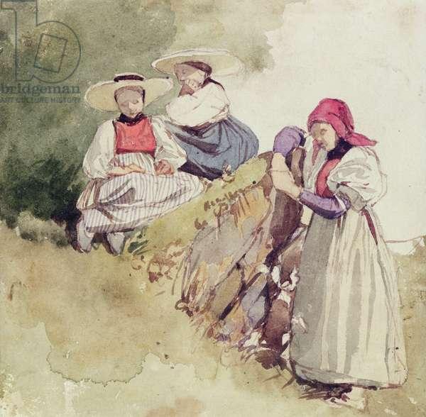 Three Females (w/c on paper)