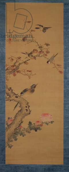 Birds, flowers and trees, c.1800-22 (ink and colours on silk)