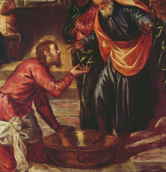 Christ Washing the Feet of the Disciples (oil on canvas) (detail of 69587)