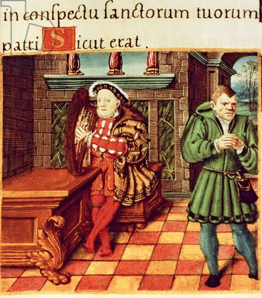 Henry VIII Playing a Harp with his Fool Wil Somers, from the King's Psalter (oil on panel)