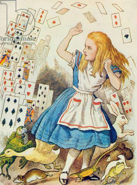 The Shower of Cards, illustration from 'Alice in Wonderland' by Lewis Carroll (1832-98) (colour litho)