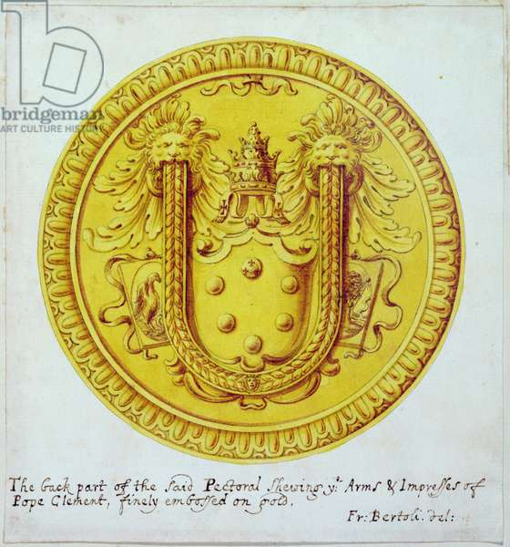 Back view of a pectoral ornament of gold and jewels made for Pope Clement VII by Cellini in c.1523-34, 1729 (w/c on paper)