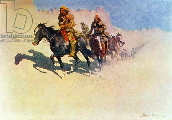 Jedediah Smith making his way across the desert from Green River to the Spanish settlements at San Diego, from 'The Great Explorers', 1906 (oil on canvas)
