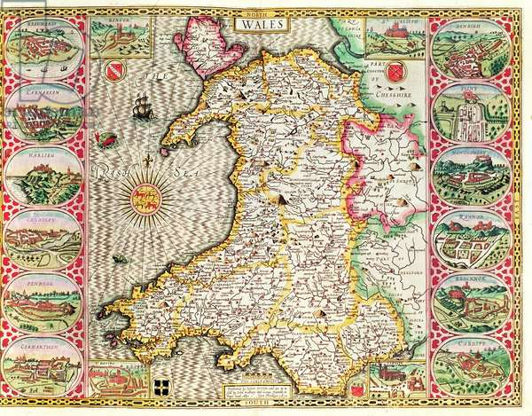 Wales, engraved by Jodocus Hondius (1563-1612) from John Speed's 'Theatre of the Empire of Great Britain', published by John Sudbury and George Humble, 1611-12 (hand coloured copper engraving)