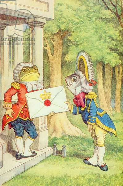 The Fish-Footman Delivering an Invitation to the Duchess, illustration from 'Alice in Wonderland' by Lewis Carroll (1832-9) (colour litho)