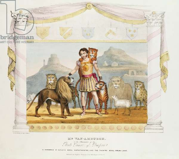Mr. Van Amburgh in the character of Brute Tamer of Pompeii, 19th century print by W. Clark