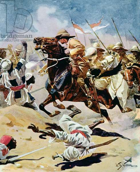 Charge of the 21st Lancers at Omdurman, 2nd September 1898 (w/c on paper)