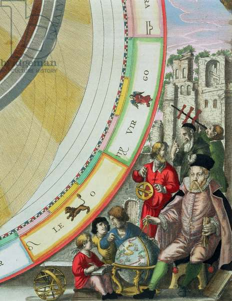 Tycho Brahe (1546-1601), detail from a map showing his system of planetary orbits, from 'The Celestial Atlas, or The Harmony of the Universe' (Atlas coelestis seu harmonia macrocosmica) pub. by Joannes Janssonius, Amsterdam, 1660-61 (hand coloured engraving) (see 129824)