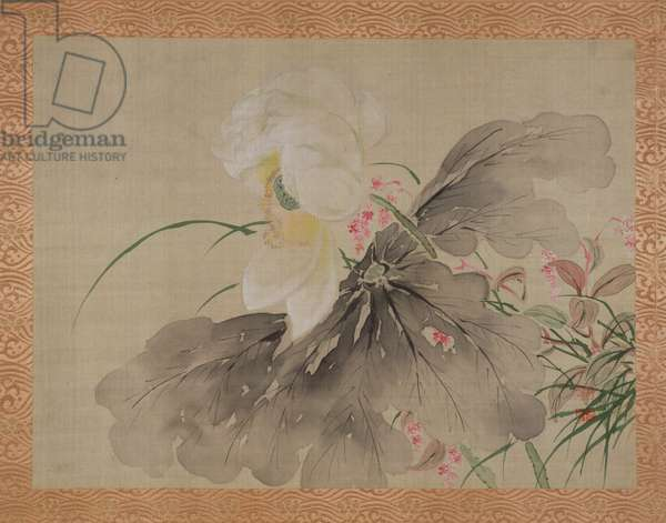 Peony Tree and Japanese Crab Apple Tree with blossom, 1851 (watercolour on silk)