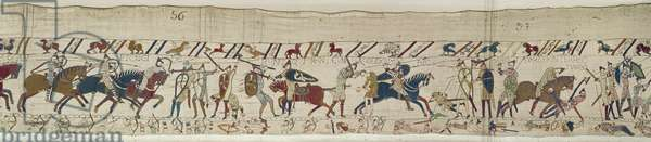 Many fall in battle and King Harold is killed, Bayeux Tapestry (wool embroidery on linen)