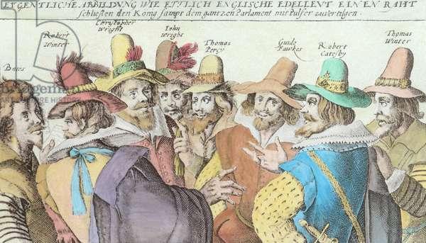 The Gunpowder Plot Conspirators, 1606 (engraving) (detail of 113410) (later colouration)