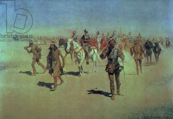 Francisco Vasquez de Coronado (c.1510-54) Making his Way Across New Mexico, from 'The Great American Explorers', 1905 (oil on canvas)