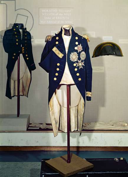 Royal Naval uniform worn by Nelson at the battle of Trafalgar in 1805 (wool, silk, brass, metal thread, gold alloy)