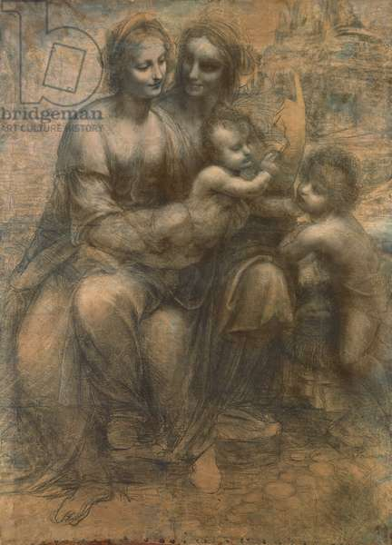 The Virgin and Child with Saint Anne, and the Infant Saint John the Baptist, c.1499-1500 (charcoal heightened with white chalk on paper, mounted on canvas)