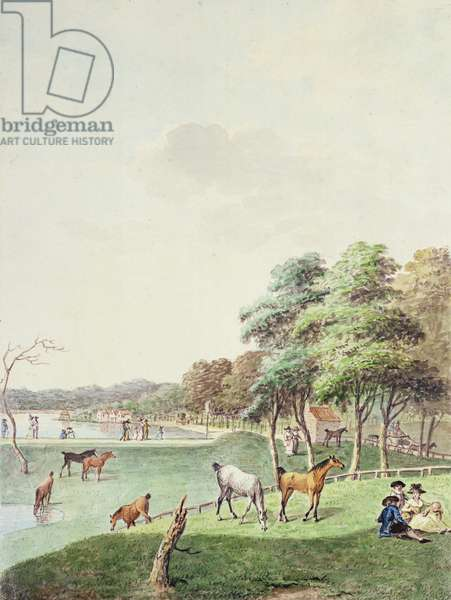 The East End of the Serpentine, and a Distant view of the Bathing House, 1794 (w/c on paper)