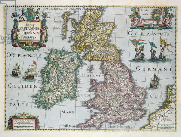Map of Britain, 1631 (hand-coloured engraving)