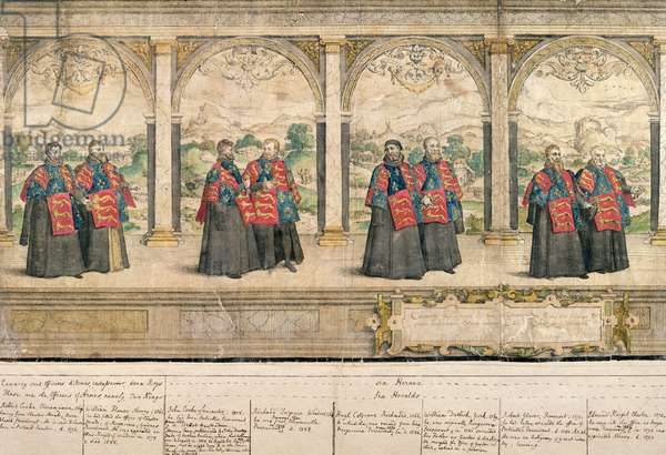 Imaginary Composite Procession of the Order of the Garter at Windsor, engraved by Marcus Gheeraerts (1521-86) 1576 (coloured etching)