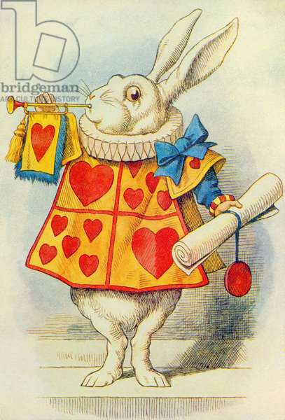 The White Rabbit, illustration from 'Alice in Wonderland' by Lewis Carroll (1832-9) (colour litho)