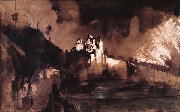 Castle (pen, ink, wash & gouache on paper)