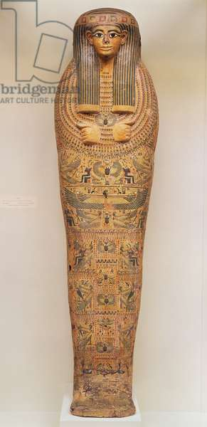Egyptian coffin of an unnamed person decorated with ritual scenes, c.1050 BC (wood)