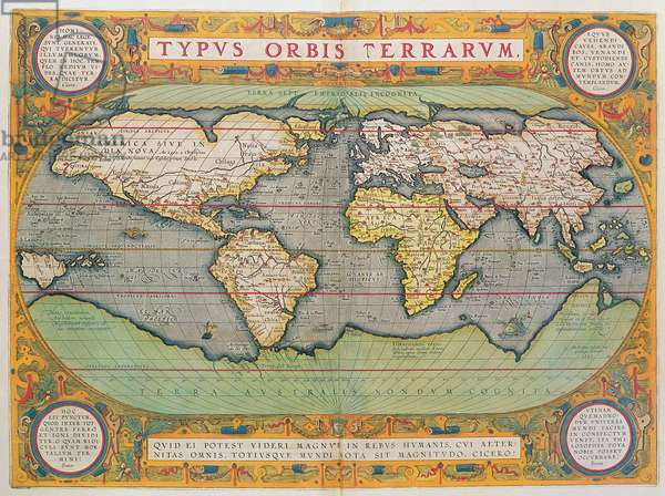 Typus Orbis Terrarum, map of the world, from Ortelius's 'Theatrum Orbis Terrarum', Antwerp, 1570 (hand-coloured engraving)