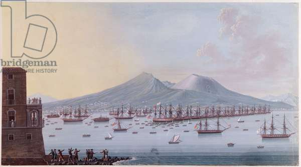 View of the Bay of Naples, 1798 (colour engraving)