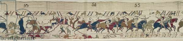 Normans and English Fall Side by Side and Bishop Odo rallies the Normans, Bayeux Tapestry (wool embroidery on linen)