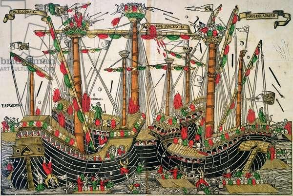Battle of Zonchio, 1499 (colour woodcut)