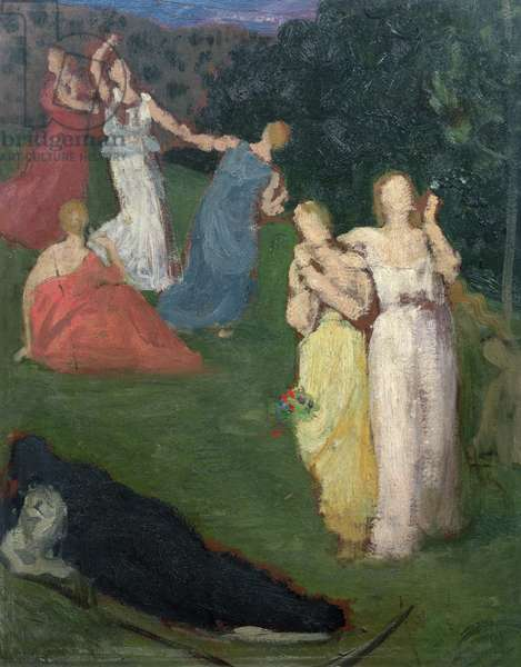 Death and the Maidens (oil on millboard)