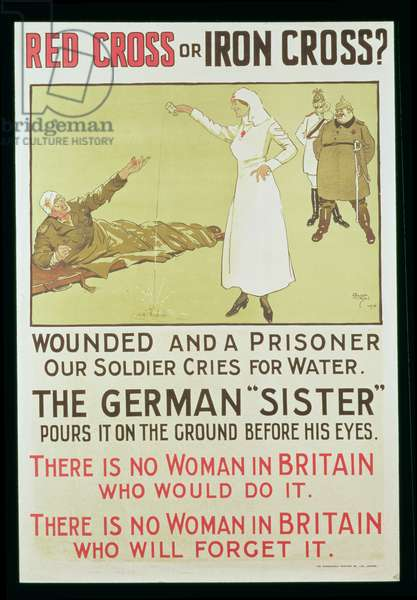 Red Cross or Iron Cross? World War I propaganda poster (colour litho)