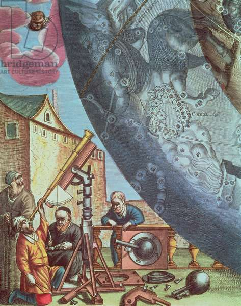 Astronomers looking through a telescope, detail from a map of the constellations from 'The Celestial Atlas, or The Harmony of the Universe' (Atlas coelestis seu harmonica macrocosmica) pub. by Joannes Janssonios, 1660-61 (coloured engraving)