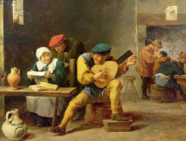Peasants Making Music in an Inn, c.1635 (oil on oak)