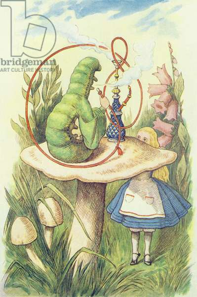 Alice Meets the Caterpillar, illustration from 'Alice in Wonderland' by Lewis Carroll (1832-9) (colour litho)