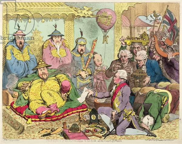 Reception of the Diplomatique and his Suite at the Court of Pekin, c.1793 (colour etching)