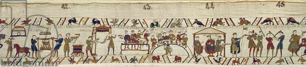 Norman servants preparing a banquet for William,  Bayeux Tapestry (wool embroidery on linen)