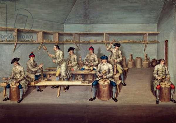 Moulding the Powder Pellets, c.1750 (w/c on paper)