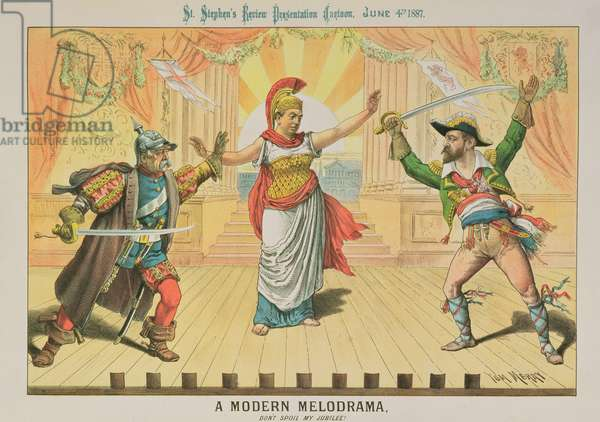A Modern Melodrama, Don't Spoil My Jubilee, from 'St. Stephen's Review Presentation Cartoon', 4 June 1887 (colour litho)