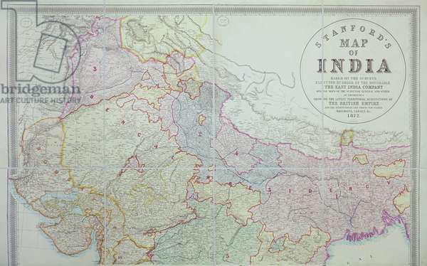 Stanford's Map of India, 1872 (colour lithograph)