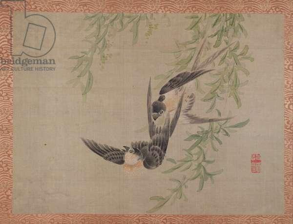Swallows in flight, 1851 (watercolour on silk)