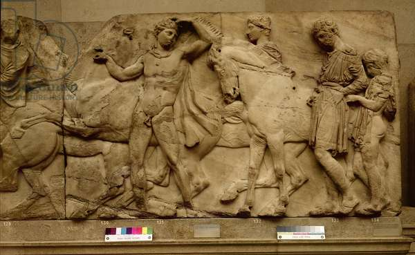 Riders Preparing to form a Procession, from the far west slab of the North Frieze, 477-432 BC (marble)