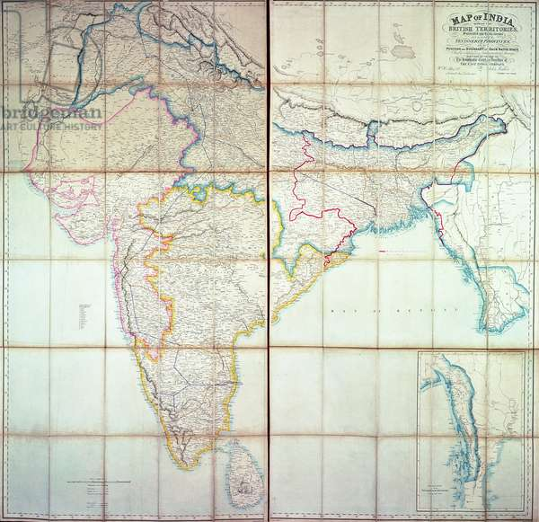 Map of India, 1857 (colour lithograph)
